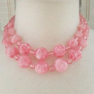Vintage Pink Marbled Double Strand Choker Necklace